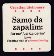 Beer Drink Mats / Croatian Dictionary - Samo Da Zapalim - Konoba Alavija Silba, Croatia / Coaster, Mat - Portavasos