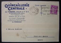 Strasbourg Pl. Gare 1936 Quincaillerie Centrale Anct Furderer Jaegler & Cie Carte  Pour Pont Sur Saulx (Meuse) - Storia Postale