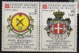 PIA - SMOM - 1986 : Convenzione Postale Con Il Burkina Faso   - (SAS  A23-A24) - Sovrano Militare Ordine Di Malta
