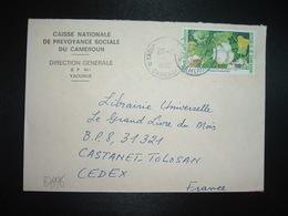 LETTRE TP COTONNIER EN PRODUCTION 100F OBL.20-2 1990 YAOUNDE + CAISSE NATIONALE DE PREVOYANCE SOCIALE - Camerun (1960-...)