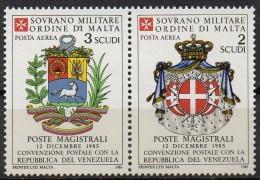 PIA - SMOM - 1986 : Convenzione Postale Con La Repubblica Del Venezuela   - (SAS  A21-A22) - Sovrano Militare Ordine Di Malta