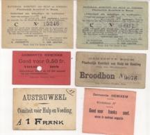 VOEDSELBONNEN GEMEENTE AUSTRUWEEL(ANTWERPEN),BOOM,HEMIKSEM EERSTE WERELDOORLOG-NATIONAAL HULP-EN VOEDINGSKOMITEIT - Guerre 1914-18