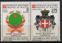 PIA - SMOM - 1984 : Convenzione Postale Con La Repubblica Popolare Del Benin   - (SAS  A7-A8) - Sovrano Militare Ordine Di Malta