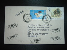 LETTRE EXPRES TP SINGE 100F + TP LADY DI 500F OBL.26-3 1990 YAOUNDE RP GUICHET 18 - Camerun (1960-...)