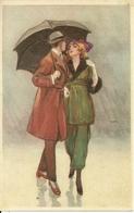 Coppia Di Innamorati Sotto La Pioggia, Riproduzione Da Orig., Reproduction, Illustrazione, (E34) - Coppie