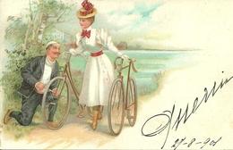Coppia Di Innamorati In Bicicletta, Riproduzione Da Orig., Reproduction, Illustrazione, (E40) - Coppie