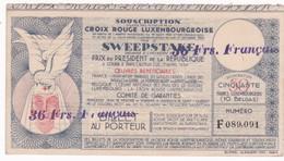 BILLET CROIX ROUGE LUXEMBOURGEOISE  , SWEEPSTAKE Prix  President De La République Paris Auteuil  1934 - Luxemburgo