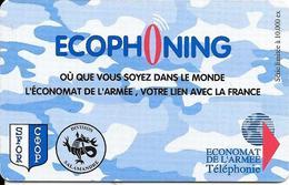 CARTE-PREPAYEE-MILITAIRE- ECOPHONING-DIVISION SALAMANDE-BLEU-PALE-10000Ex-TBE - France