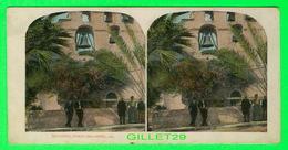 CARTES  STÉRÉOSCOPIQUES - SAN GABRIEL MISSION, SAN GABRIEL, CALIFORNIA - ANIMATED WITH PEOPLES - - Stereoskopie