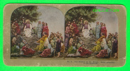 CARTES  STÉRÉOSCOPIQUES - THE SERMON ON THE MOUNT, JESUS PREACHING TO THE MULTITUDE - No 5 - - Stereoskopie