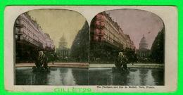 CARTES  STÉRÉOSCOPIQUES - THE PANTHEON AND RUE DE MEDICIS, PARIS FRANCE - ERREUR DE FRAPPE - - Stereoskopie