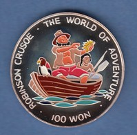 Nord-Korea 100 Won Silbermünze Robinson Crusoe 1996 Coloriert Ag 999 - Sonstige – Asien