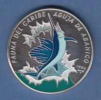 Kuba 10 Pesos Silbermünze Schwertfisch 1994 Coloriert Ag 999 - Münzen