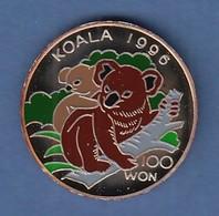 Nord-Korea 100 Won Silbermünze Koala 1996 Coloriert Ag 999 - Sonstige – Asien