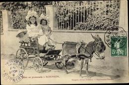 Cp Robinson Hauts De Seine, Bebes En Promenade A Robinson, Esel, Kutsche - Francia