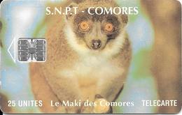 CARTE-PUCE-25U-SC7-SNPT COMORES-MAKI-UTILISE-V°9 N°Rge N° C5A153873-TBE - Comores