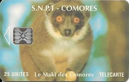 CARTE-PUCE-25U-SC5-SNPT COMORES-MAKI-UTILISE-V°9 N°Rge N° C49100922-UTILISE-TBE-RARE - Comores