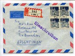 ENVELOPE CIRCULEE KOLN DEUTSCHE EN BUENOS AIRES ARGENTINE ANNEE 1969. PAR AVION RECOMMANDE BLOCK DE QUATRE -LILHU - Allemagne
