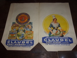 SAC PAPIER PUB CLAUDEL PONT-HEBERT MANCHE FROMAGES CAMEMBERT PARFAIT ETAT - Fromage