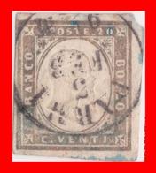 SI53D Italia Italy Italian States Sardinia Sardegna 20 C.Sassone 15 Errore Di Colore Con Annullo Parma RARISSIMO - Sardegna