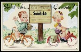 Ref 1321 - Novelty Pull-Out Postcard - Salut Bebe Ca Roule? - Saint Lo - Manche France - Saint Lo