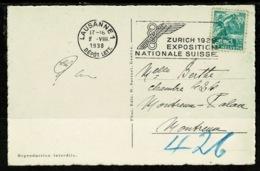 """Ref 1321 - 1938 Switzerland Postcard Good Slogan """"Zurich 1939 Exposition Nationale Suisse"""" - Switzerland"""