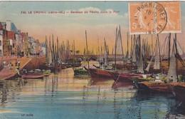 44. LE CROISIC. CPA COLORISEE. BATEAUX DE PÊCHE DANS LE PORT PORT. ANNEE 1924 + TEXTE - Le Croisic