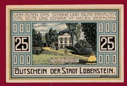 Allemagne 1 Notgeld De 25 Pfenning Stadt Lobenstein UNC N °4539 - Verzamelingen