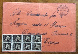 BISENTI * (62-11 ) * 11/8/45 ANNULLO FRAZIONATO IN LUOGOTENENZA SU BLOCCO P.A. 50 C. SU BUSTA PER TERAMO - Poststempel