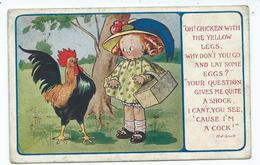 Child With Chicken Signed Poem H.j.snell Kismet Series No212 Posted 1917 Truro To Hayle - Humorous Cards