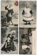 LOT 4 CPA * BRETAGNE Bénodet Coup De Vent / Vous Salue (fillette Costume) L'Angélus (enfant) / Gavotte Troisième Figure - Bretagne