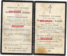 Bidprentje August En Helene Depuydt Ichtegem 1839 En 1843  Burgemeester Gistel Ovl Rotterdam 1914 En Brussel 1917 Darras - Devotieprenten