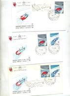 3 Lettre Cachet Cortinachamionnat De Bobsleigh - Marcofilia - EMA ( Maquina De Huellas A Franquear)