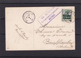 OCCUPATION / Carte De BAUDOUR Vers Bouffioulx  Marque De Contrôle - WW I