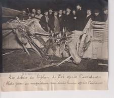 LES DÉBRIS BIPLAN DE CEI APRÈS L'ACCIDENT   L'ITALIEN CEI 18*13CM Maurice-Louis BRANGER PARÍS (1874-1950) - Aviación