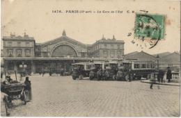 D75 - PARIS 10e - LA GARE DE L'EST - Cars Anciens - Charrette De Légumes - Metro, Estaciones