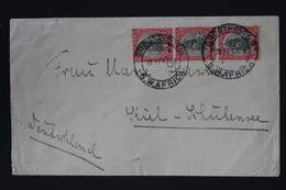 South West Africa Cover  28-2-29 Grootfontein -> Kiel Germany Strip Of 3 Cancel Putzel Nr 2a - Südwestafrika (1923-1990)