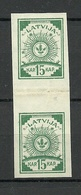 Lettland Latvia 1919 Michel 18 Senkrechtes Paar Mit Zwischensteg Vertical Gutter Pair (*) - Lettland