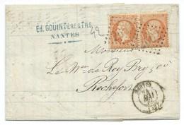 PAIRE N° 23 ORANGE NAPOLEON ORANGE SUR LETTRE / NANTES POUR ROCHEFORT / 1865 - Marcofilie (Brieven)