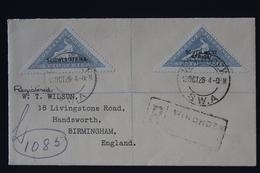 South West Africa Airmail Registered Cover  Windhoek 12-10-28 To Birmingham SG 44A + 44 B - Südwestafrika (1923-1990)