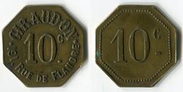 N93-0588 - Monnaie De Nécessité - Paris - Giraudon - 191, Rue De Flandre - 10 Centimes - Monétaires / De Nécessité