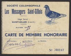 D 35 - SAINT-GILLES - SOCIETE COLOMBOPHILE - Carte De Membre Honoraire - 1955 - Cartes