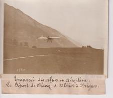 TRAVERSÉE DES ALPES EN AÉROPLANE DÉPART DE CHAVEZ S BLERIOT BRIGUES  18*13CM Maurice-Louis BRANGER PARÍS (1874-1950) - Aviación