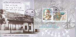 INDIA 2019  FDC  MS AHIMSA PARMO DHARMA, Philosophy Of GANDHI Peaceful Non-Violence. NEW DELHI Cancelled - FDC