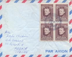 Austria 1947 Cover To Italy With Special Cancel Innsbrück International Sport Week 26 Jul-3 Aug On 4 X 18 G. Grillparzer - Francobolli