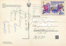 Czechoslovakia 1979 Picture Postcard To Italy With 2 Kcs. 5th European Ice Hockey Championships 1978 - Hockey (su Ghiaccio)