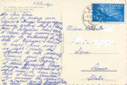 Spain 1960 Picture Postcard From Burgos To Italy With Airmail Stamp 3 Ptas. Single Value - 1951-60 Briefe U. Dokumente