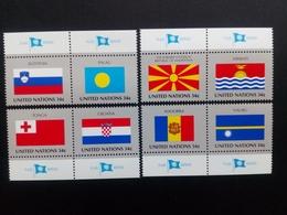 UNO New York MI-NR. 862-869 Postfrisch Flaggen 2001 Mit Tab Kroatien Slowenien Andorra Palau Nauru Tonga - Briefmarken