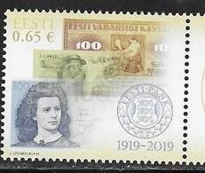 ESTONIA, 2019, MNH, 100  YEARS OF ESTONIAN CENTRAL BANK, BANKNOTES,  1v - Sellos
