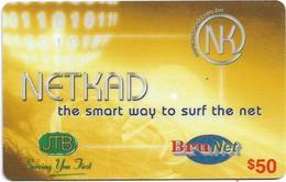 Brunei - BruNet - NETKAD (Yellow) The Smart Way To Net, Prepaid 50$, Used - Brunei